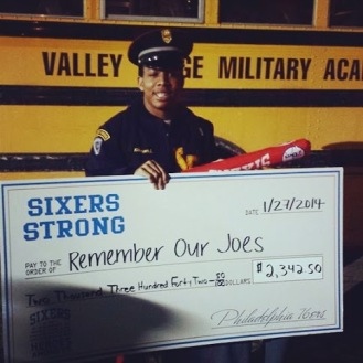 Donation from 50:50 Raffle at Philadelphia 76ers Valley Forge Night